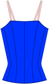 Coloured line drawing Style 140 Russian Bodice