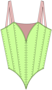 Coloured line drawing Style 130 Nude Insertp Bodice